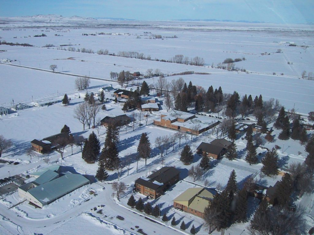 st. anthony winter arial view